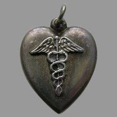 "Vintage Medical Caduceus ""Janice"" Sterling Heart Charm"