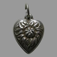 Vintage Chrysanthemum Sterling Heart Charm