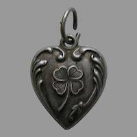 Vintage Shamrock Sterling Heart Charm