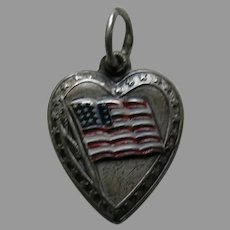 "Vintage Enameled American Flag with Star Border ""Glenn"" Sterling Heart Charm"