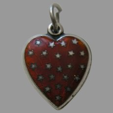 "Vintage Orange Enameled Stars ""Vernon"" Sterling Heart Charm"