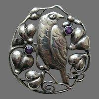 Theodore Fahrner Amethyst Bird 935 Silver Brooch