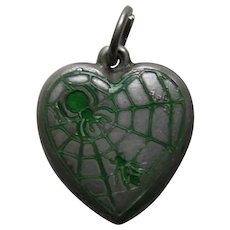 "Vintage Green Enameled Spider and Fly ""Leo"" Sterling Heart Charm"