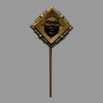 Antique Carved Tiger Eye Man in the Moon Gold Stickpin