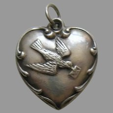 Vintage Bird with Letter Sterling Heart Charm