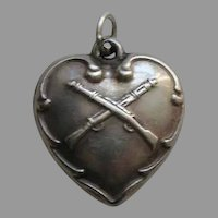 Vintage Crossed Rifles Sterling Heart Charm