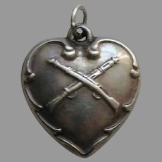 Vintage Crossed Rifles Sterling Heart Charm