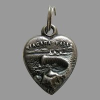 Antique Niagara Falls Sterling Heart Charm