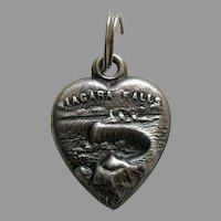 Antique Niagara Falls Sterling Heart Charm
