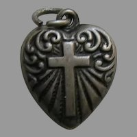 Vintage Cross Scroll Double Sided Small Sterling Heart Charm
