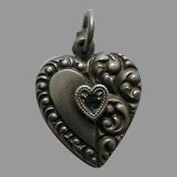 "Vintage Sapphire Paste Half Scroll ""Faye"" Sterling Heart Charm"