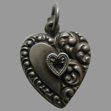 "Vintage Sapphire Paste Half Scroll ""Faye"" Sterling Heart Charm"