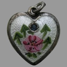 "Walter Lampl Enameled Morning Glory Sapphire Flower of the Month September ""Lorraine"" Sterling Heart Charm"