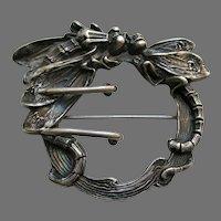 Kerr Art Nouveau Dragonfly Sterling Brooch