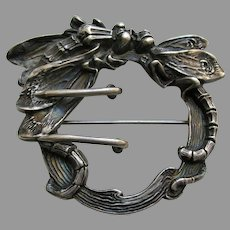 Kerr Art Nouveau Dragonfly Sterling Brooch