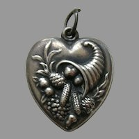 Vintage Cornucopia Large Sterling Heart Charm