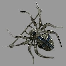 Knoll Pregizer Sapphire Paste Spider Sterling Brooch