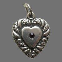 Vintage Garnet Paste Double Sided Large Sterling Heart Charm