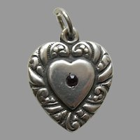 Vintage Garnet Paste Double Sided Large Sterling Heart Charm