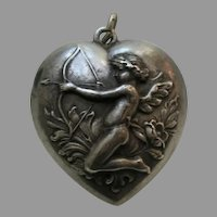 Antique Cupid Bow and Arrow Sterling Heart Charm/Pendant
