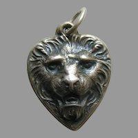 Vintage Lion Sterling Heart Charm
