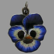 Antique European Blue Enameled Pansy Silver Slide Locket