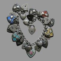 Vintage Twenty-Eight Sterling Heart Bracelet