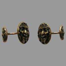 Antique Krementz Bacchus/Dionysus Double Sided 14k Cufflinks