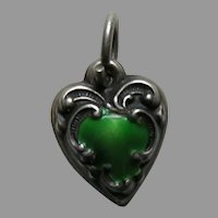 Green Enameled Scroll Border Small Sterling Heart Charm