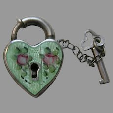 Walter Lampl Enameled Green Sterling Heart Lock and Key