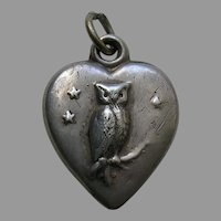 """Antique Owl """"Cordie"""" Sterling Heart Charm"""