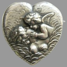 Unger Art Nouveau Love's Dream Sterling Heart Locket Brooch
