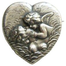 Unger Art Nouveau Love's Dream Sterling Heart Locket Brooch