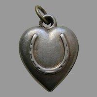 "Antique Horseshoe ""Freda"" Sterling Heart Charm"