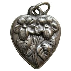 Vintage Flower of the Month March Violet Sterling Heart Charm