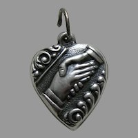 "Vintage Friendship/Handshake ""Spud"" Sterling Heart Charm"