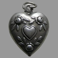 Vintage Hearts and Flowers Sterling Heart Charm