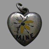 Antique Enameled Bee Mine Rebus Sterling Heart Charm