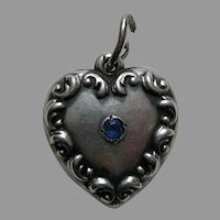 "Vintage Sapphire Paste Scroll Border ""E"" Sterling Heart Charm"