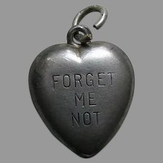 Vintage Forget Me Not Mabel Sterling Heart Charm