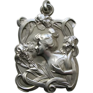 French Art Nouveau Lady and Iris 800 Silver Double Sided Slide Locket
