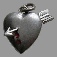 Vintage Bleeding Heart Arrow John  Sterling Charm