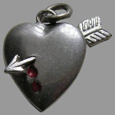 Vintage Bleeding Heart Arrow John  Sterling Charm