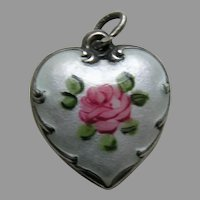 Vintage Enameled Pink Rose White Background Sterling Heart Charm