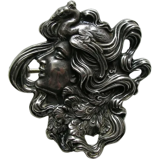 Antique Unger Peacock Lady Sterling Brooch