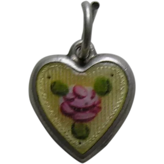 Vintage Enameled Pink Rose Small Sterling Heart Charm