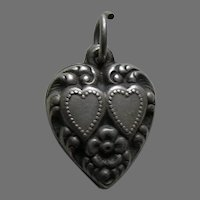 Vintage Double Heart Sterling Heart Charm