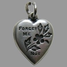 Vintage Forget-Me-Not Your Pal Sterling Heart Charm