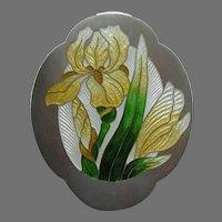 Art Nouveau Enameled Yellow Iris Sterling Brooch