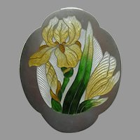 Art Nouveau Enameled Yellow Iris Sterling Brooch